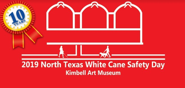picture of The Kimbell Art Museum with 3 of their arched ceilings.  There is a sidewalk in front with a woman walking with a cane and a man walking with a dog guide. 10 year ribbon in cornerof graphic.